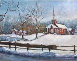 The Church in Winter by Wulff-Arts