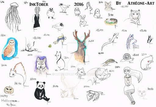 Inktober 2016 Compilation by AtheoneArt