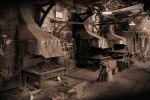 old blacksmiths workshop in sepia by Sad-Fantasy