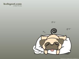 A Sleepy Pug Wallpaper by lafhaha