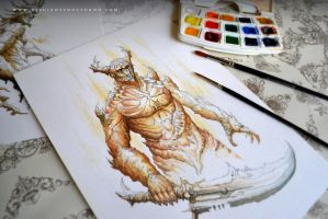 Watercolour // Coffee // Demon (2012) by Dibujante-nocturno