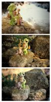 Grunbo the pond shaman and Frogga , his pet. by dodoalbino