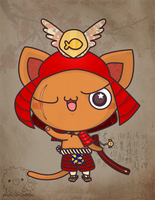 samurai cat by pronouncedyou
