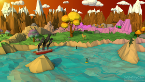 Low Poly Sunset on dangerous waters by Th3AlleyCat