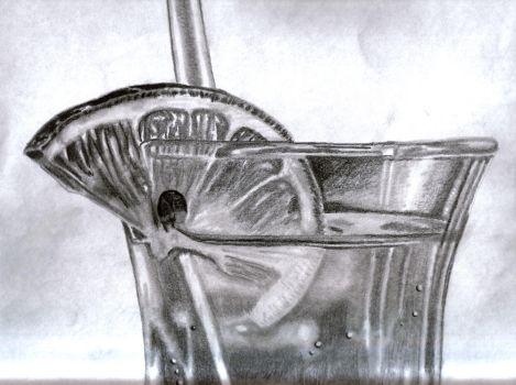 Cocktail Pencil Drawing by DanBergundy