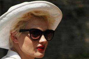 Red Lips, White Hat by EarthHart