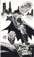 Batman grayscale sketch card 2 by KenHunt
