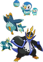 393, 394 and 395 - Piplup Evolutionary Family by Tails19950