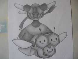 Combee + Vespiquen Drawing by sazmullium