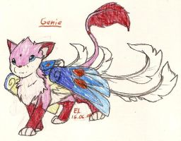 Pink Cat named Genie by DragonFeenix