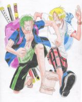 Zoro And Sanji Running by CNStar92