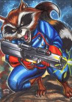 ROCKET RACCOON PERSONAL SKETCH CARD by AHochrein2010