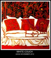 WHITE COUCH WITH RED by larthurs