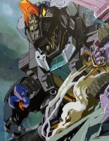 Trypticon on canvas by marble-v