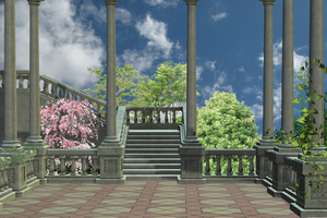 Premade Background Spring Stair by Nolamom3507