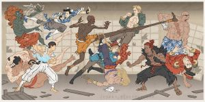 Street Fighter Japanese Ukiyo-e by thejedhenry
