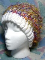 Whispy White Rainbow Brim Hat by SmilingMoonCreations