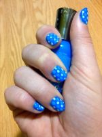 Blue Polka Dots by GinnyMakeupnNails