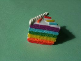 Polymer Clay Rainbow Cake by KawaiiAsI