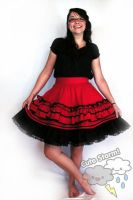 Red ruffled lolita skirt by The-Cute-Storm