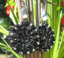 Beaded black and silver crochet earrings by doilydeas