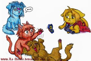 Squeenix Kitties and... Siax Puppy by La-Anime