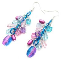 Pink and Blue Crackle Earrings by fairy-cakes