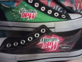 Mtn Dew Shoes :D by KAMinturnDesigns