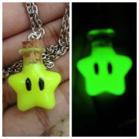 Yellow Mario star glow in the dark necklace by Saloscraftshop