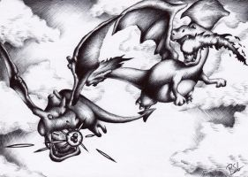 Charizard vs Aerodactyl by Petah55