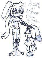 Bunnie and Cream pen sketch by LillithMalice