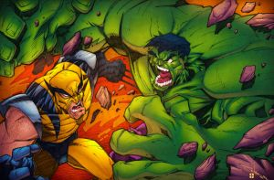 Wolverine Vs Hulk V.2 -Lights on- by AlonsoEspinoza