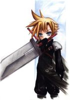 CLOUD STRIFE 'chibisized' by hen-tie