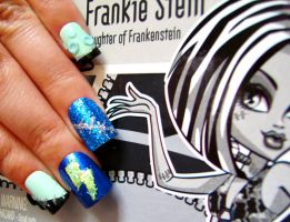 Frankie Stein Nail Art by ZeeaDarling