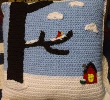 Crochet Pillow with Snowy Scenery by ShadowOrder7