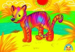 Colorful Tiger by GhettoRainbowCat