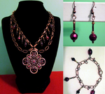 Copper Chain Flower Set by BloodRed-Orchid