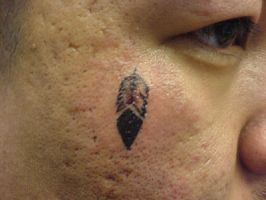 Feather Tattoo on Cheek by hippieman1234