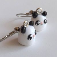 Polymer Clay Panda Dangles Kawaii Clay Earrings by pitterpatterpolymer