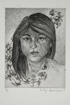 Self Portrait etching by TigerWings93