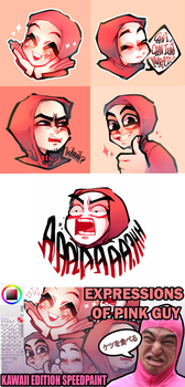 Expressions of Pink Guy (weeb edition) by zukich