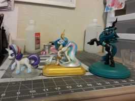Rarity, Celestia and Chrysalis size comparison by aachi-chan