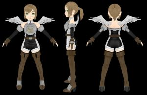 Valkyrie girl - T pose renders by Pixel511