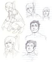 Korra and Bolin sketches by Jazzie560