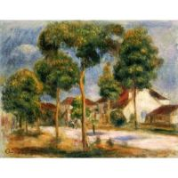 Handmade Oil Painting A Sunny Street by Renoir by famouspainting