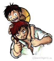 One Piece: Luffy and Shanks by lauraneato