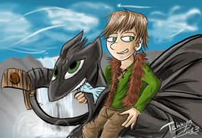 Hiccup and Toothless. by Tahkyn