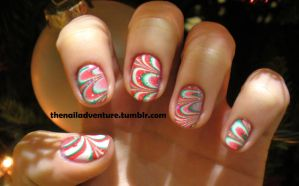Christmas Watermarble Nail Art by thenailadventure