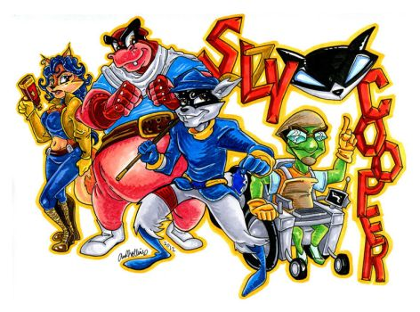 Sly Cooper Gang marker sketch. by Anamated