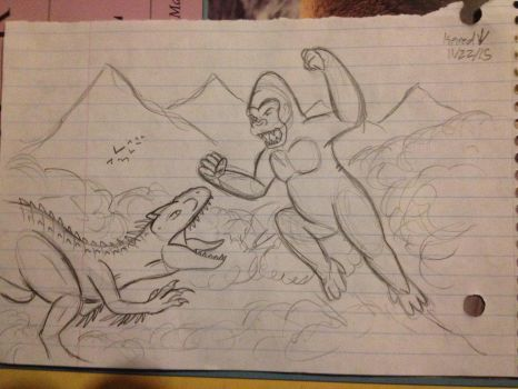 Kong vs. indominus Rex by Rexander134